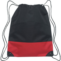 Colorblock Heavy Poly Cinch Pack w/Front Zipper